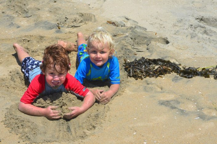 Playing in the sand at Beach Adventure