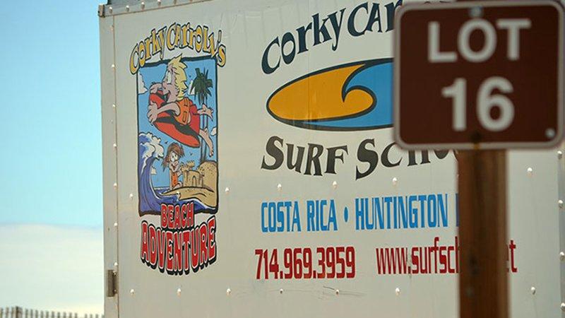 Corky Carroll's Surf School Van Logo