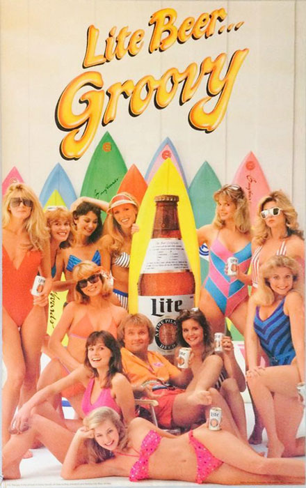 Miller Lite Poster Featuring Corky Carroll and Beach Girls