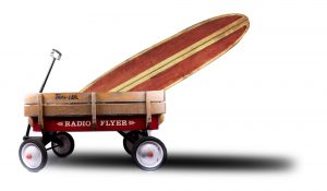 Surfboard Radio Flyer Wagon