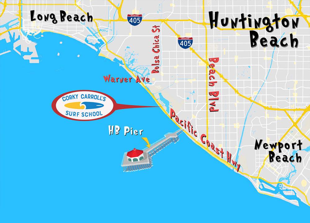 Surf School Huntington Beach Map Directions