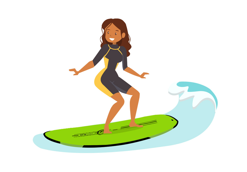 Girl Surf Lesson Vector Cartoon