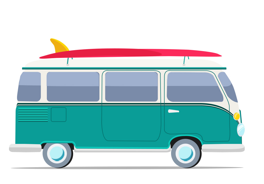 Surf Van Volkswagen Vector Cartoon