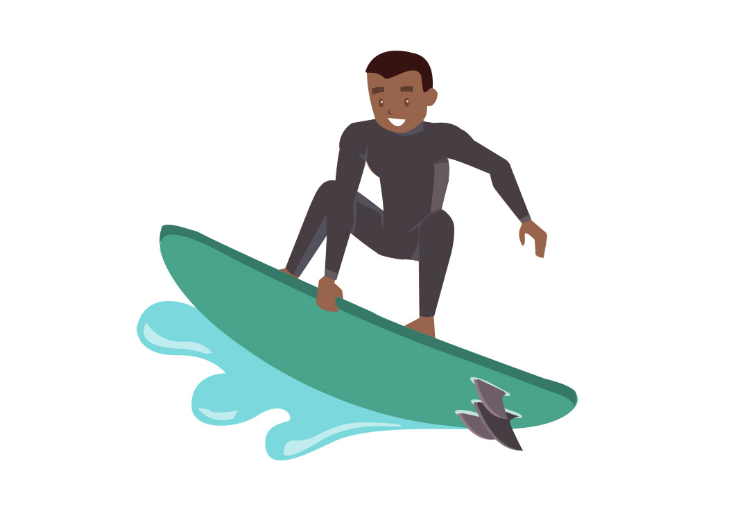 Surfer Cartoon Vector Shortboard